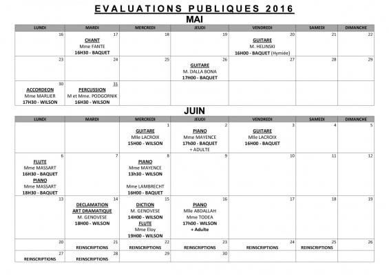 Evaluations publiques 2017